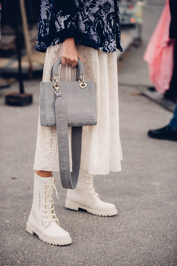 Paris street style white Dior boots