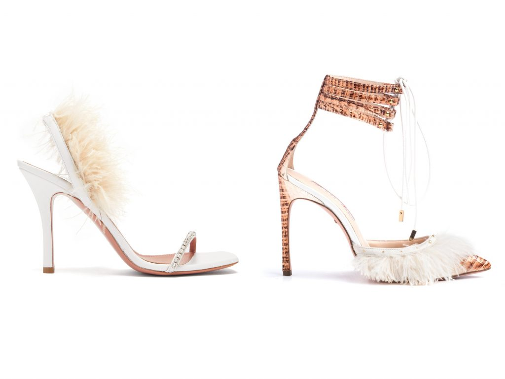 amina-muaddi-kendall-miles feather sandals