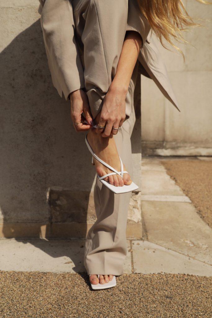 bottega Veneta white sandals