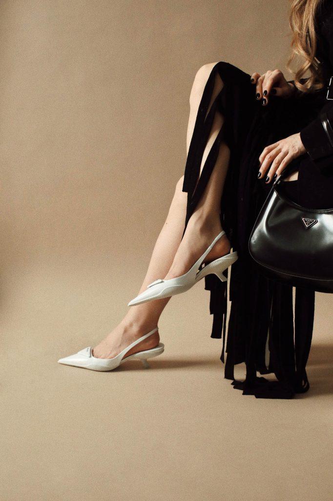 Prada kitten heels outfit