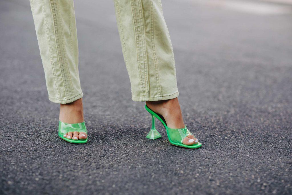 amina muaddi neon sandals