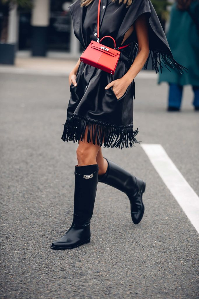 PFW street style riding boots