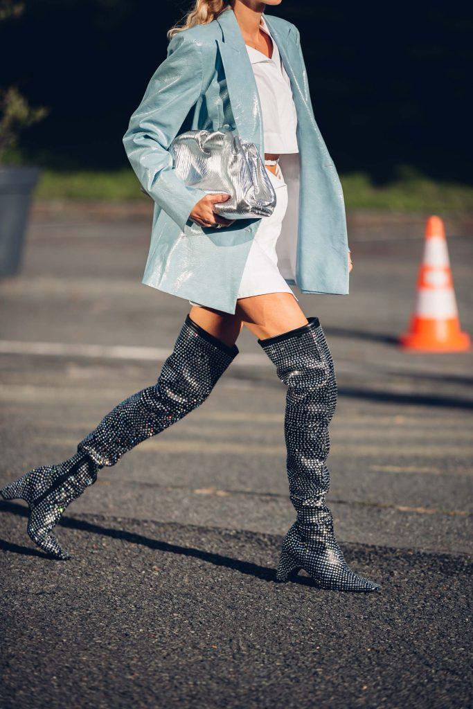 PFW street style glitter boots