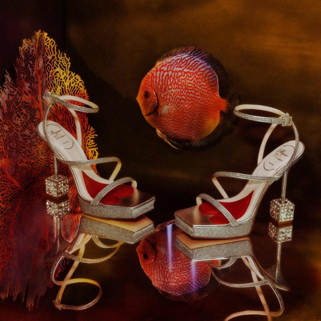 roger vivier silver sandals